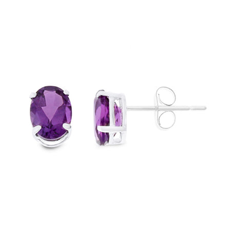 1.29ctw 5 x 7 mm. Oval Shaped Genuine Natural Amethyst Earrings .925 Sterling Silver