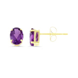 1.65ctw 5 x 7 mm. Oval Shaped Genuine Natural Amethyst Earrings 14kt Yellow Gold