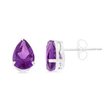 2.35ctw 6 x 8 mm. Pear Shaped Genuine Natural Amethyst Earrings 14kt White Gold
