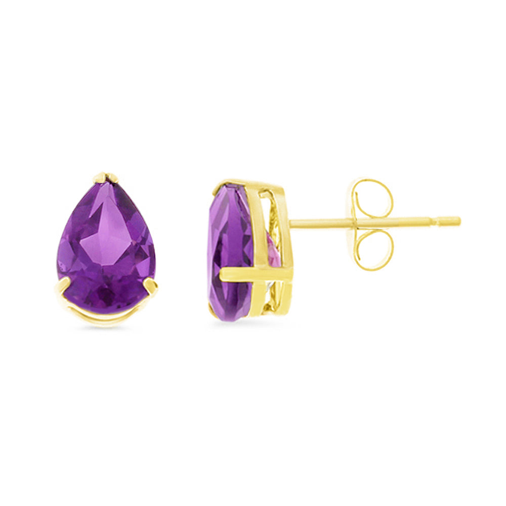 2.35ctw 6 x 8 mm. Pear Shaped Genuine Natural Amethyst Earrings 14kt Yellow Gold