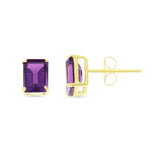1.81ctw 5 x 7 mm. Emerald Cut Genuine Natural Amethyst Earrings 14kt Yellow Gold