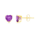 1.37ctw 6 mm. Heart Shaped Genuine Natural Amethyst Earrings 14kt Yellow Gold