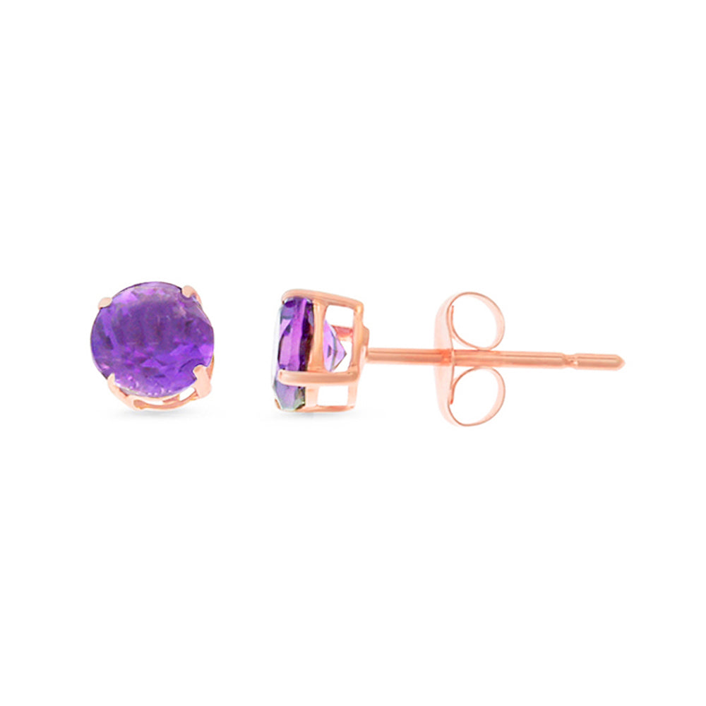 0.97ctw 5 mm. Round Shaped Genuine Natural Amethyst Earrings 14kt Rose Gold