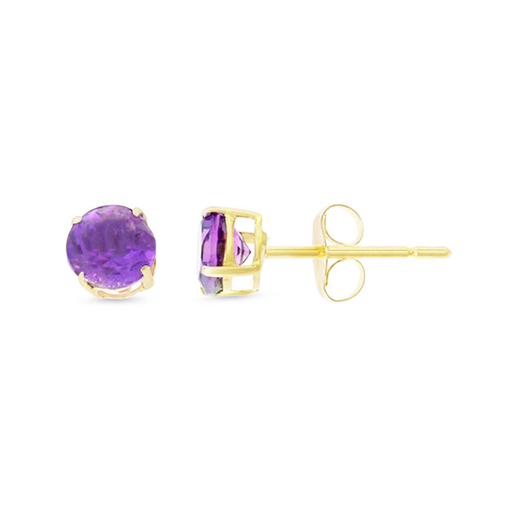 0.97ctw 5 mm. Round Shaped Genuine Natural Amethyst Earrings 14kt Yellow Gold