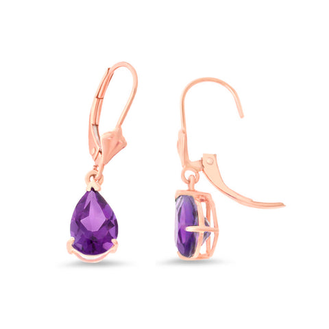 2.19ctw 6 x 8 mm. Pear Shaped Genuine Natural Amethyst Leverback Earrings 14kt Rose Gold