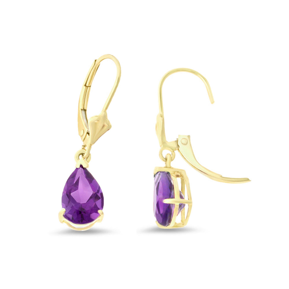 2.19ctw 6 x 8 mm. Pear Shaped Genuine Natural Amethyst Leverback Earrings 14kt Yellow Gold