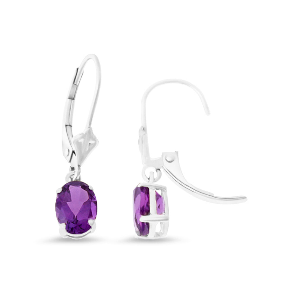 1.42ctw 5 x 7 mm. Oval Shaped Genuine Natural Amethyst Leverback Earrings 14kt White Gold