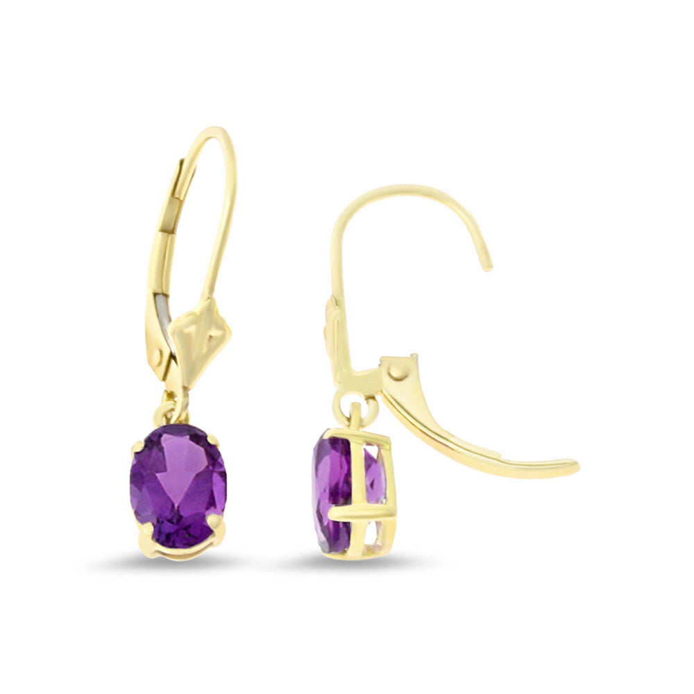 1.42ctw 5 x 7 mm. Oval Shaped Genuine Natural Amethyst Leverback Earrings 14kt Yellow Gold