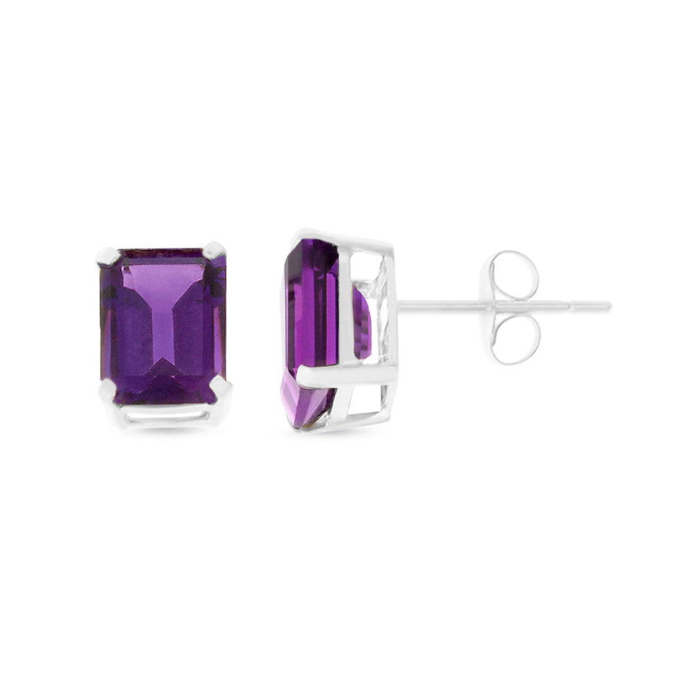 2.58ctw 6 x 8 mm. Emerald Cut Genuine Natural Amethyst Earrings 14kt White Gold