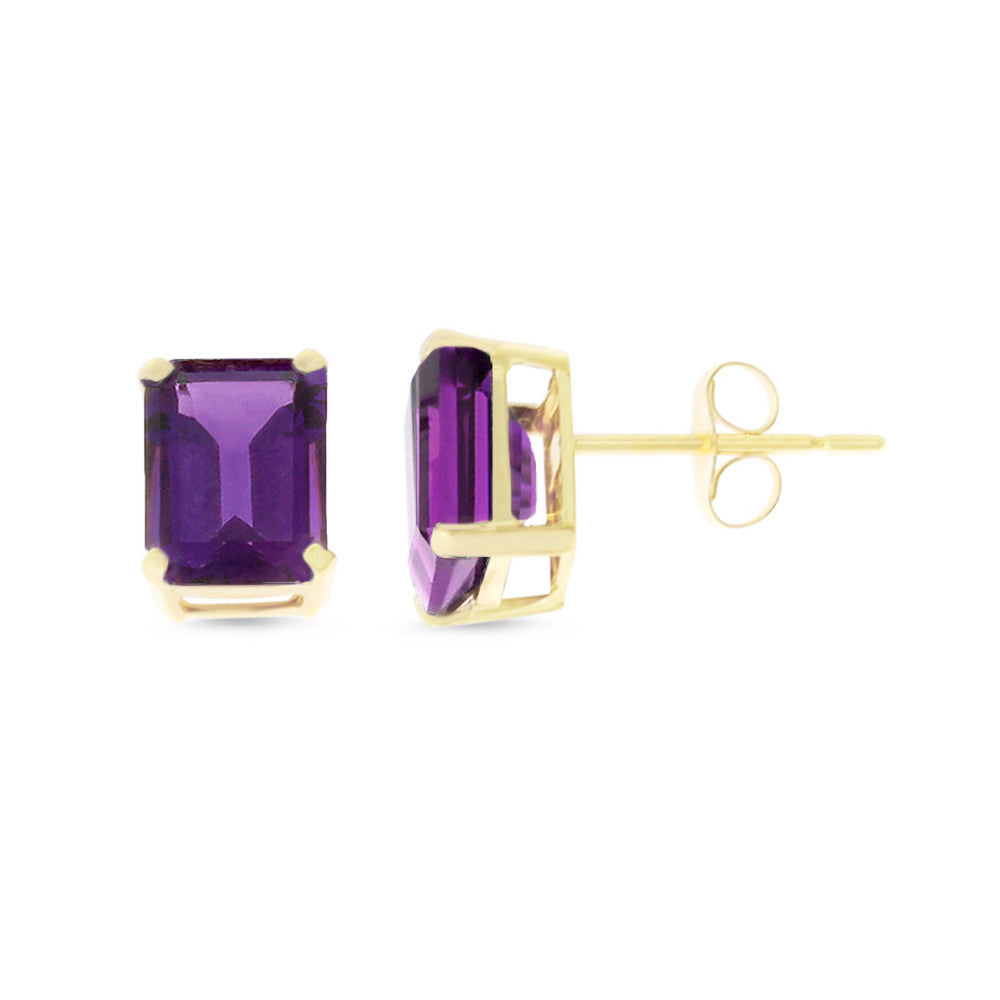 2.58ctw 6 x 8 mm. Emerald Cut Genuine Natural Amethyst Earrings 14kt Yellow Gold