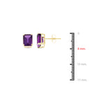 3.89ctw 6 x 8 mm. Emerald Cut Genuine Natural Amethyst Set 14kt Yellow Gold