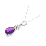 1.26ctw 6 x 8 mm. Pear Genuine Natural Amethyst and Diamond Pendant 14kt White Gold