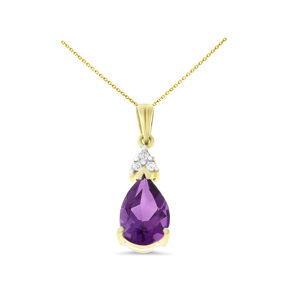 1.26ctw 6 x 8 mm. Pear Genuine Natural Amethyst and Diamond Pendant 14kt Yellow Gold