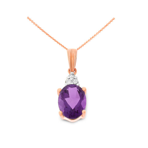 1.08ctw 6 x 8 mm. Oval Genuine Natural Amethyst and Diamond Pendant 14kt Rose Gold