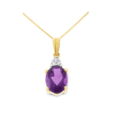 1.08ctw 6 x 8 mm. Oval Genuine Natural Amethyst and Diamond Pendant 14kt Yellow Gold