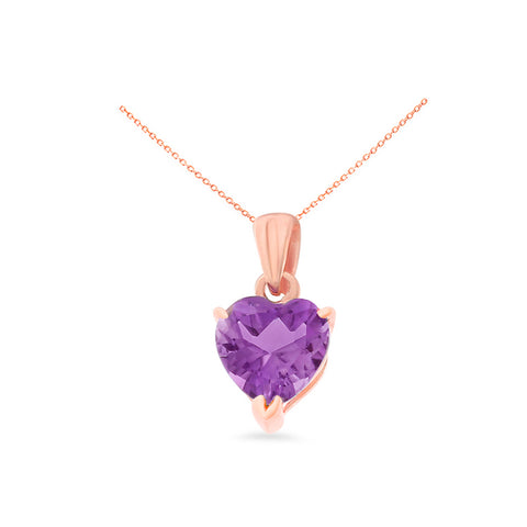 0.77ctw 6 mm. Heart Shaped Genuine Natural Amethyst Pendant 14kt Rose Gold