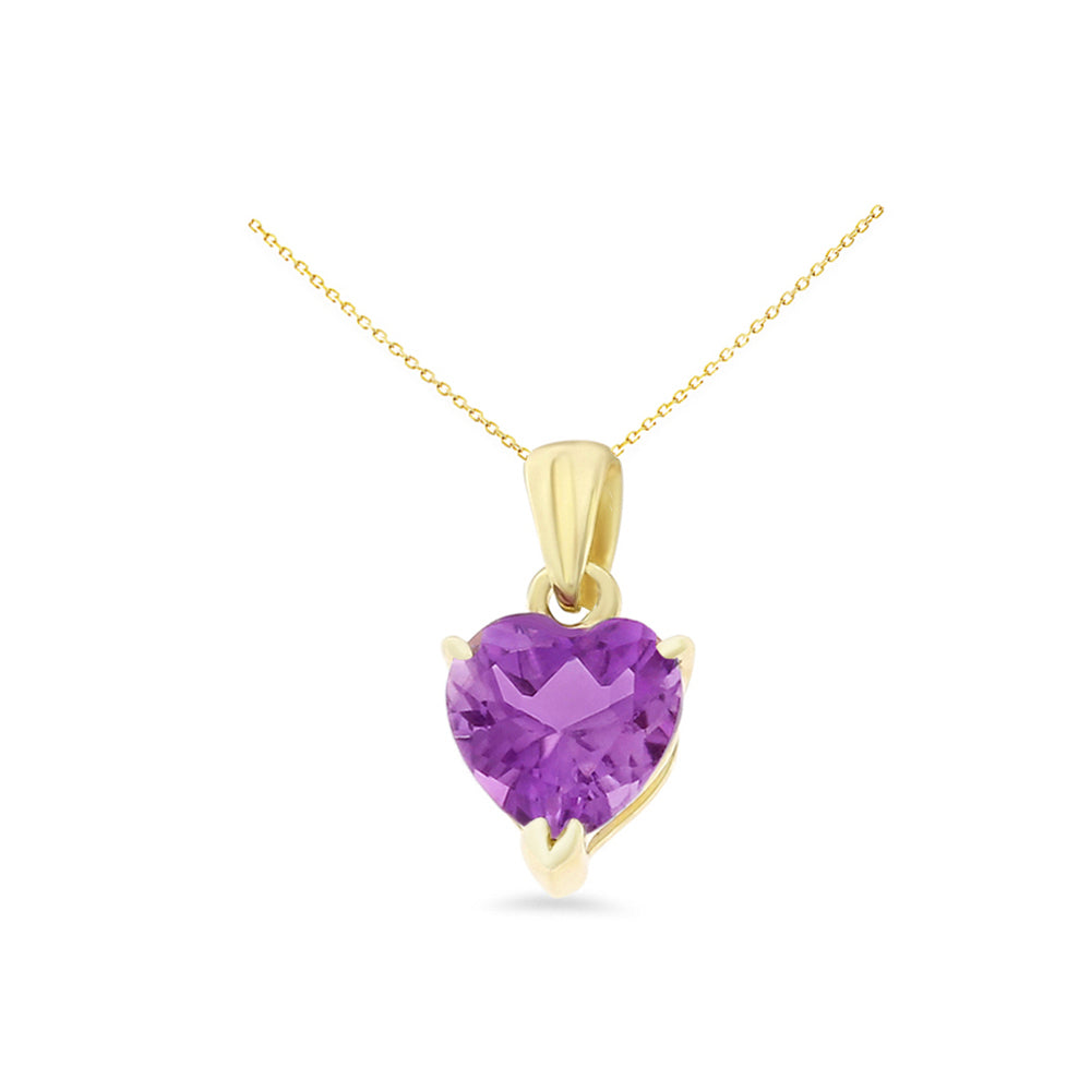 0.77ctw 6 mm. Heart Shaped Genuine Natural Amethyst Pendant 14kt Yellow Gold
