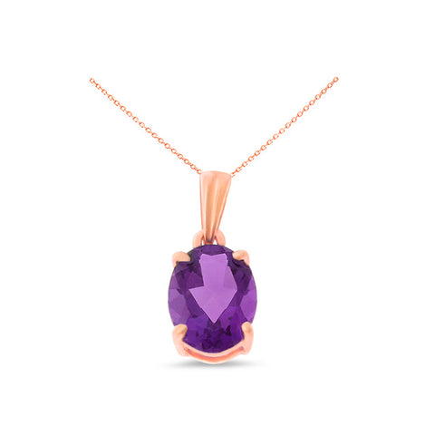 1.02ctw 6 x 8 mm. Oval Shaped Genuine Natural Amethyst Pendant 14kt Rose Gold