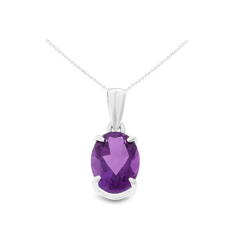 1.02ctw 6 x 8 mm. Oval Shaped Genuine Natural Amethyst Pendant 14kt White Gold