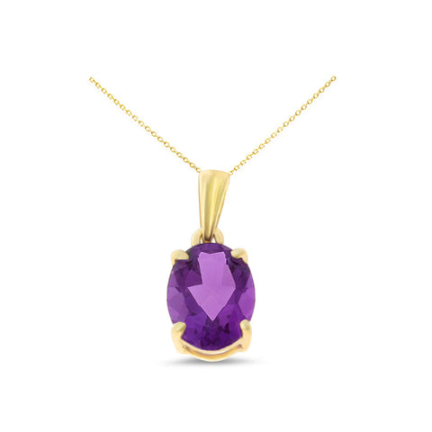 1.02ctw 6 x 8 mm. Oval Shaped Genuine Natural Amethyst Pendant 14kt Yellow Gold