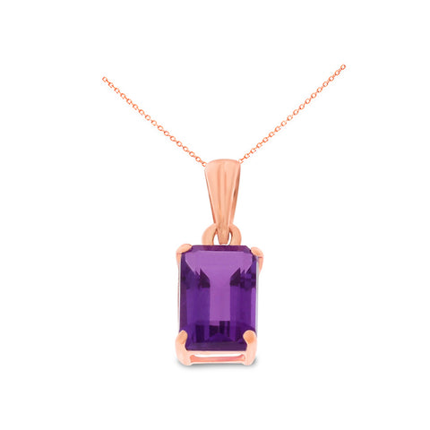 0.96ctw 5 x 7 mm. Emerald Cut Genuine Natural Amethyst Pendant 14kt Rose Gold