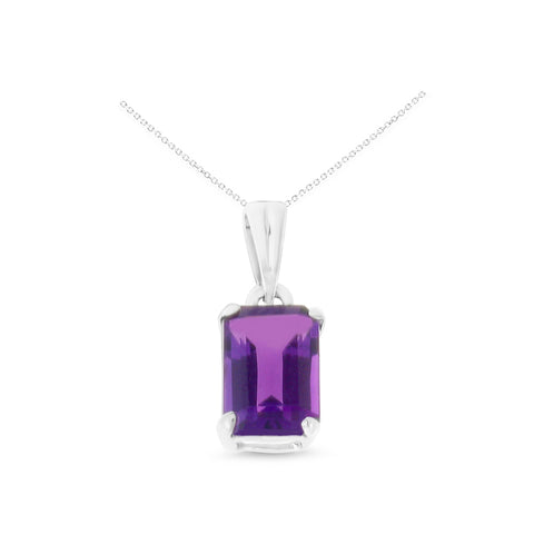 0.96ctw 5 x 7 mm. Emerald Cut Genuine Natural Amethyst Pendant 14kt White Gold