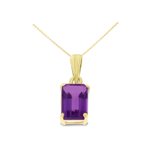 0.96ctw 5 x 7 mm. Emerald Cut Genuine Natural Amethyst Pendant 14kt Yellow Gold