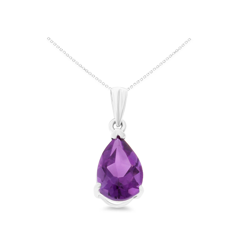 1.10ctw 6 x 8 mm. Pear Shaped Genuine Natural Amethyst Pendant 14kt White Gold