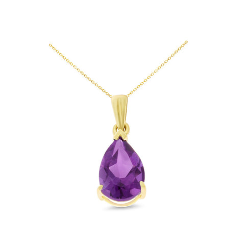 1.10ctw 6 x 8 mm. Pear Shaped Genuine Natural Amethyst Pendant 14kt Yellow Gold