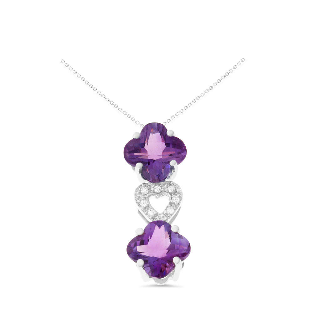 3.57ctw Genuine Natural Amethyst and Diamond Pendant 18kt White Gold