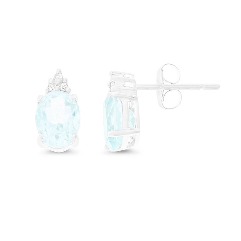 2.26ctw 6 x 8 mm. Oval Shaped Genuine Natural Aquamarine and Diamond Earrings 14kt White Gold