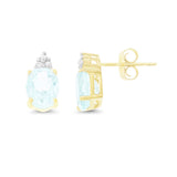 2.26ctw 6 x 8 mm. Oval Shaped Genuine Natural Aquamarine and Diamond Earrings 14kt Yellow Gold