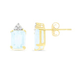 2.89ctw 6 x 8 mm. Emerald Cut Genuine Natural Aquamarine and Diamond Earrings 14kt Yellow Gold