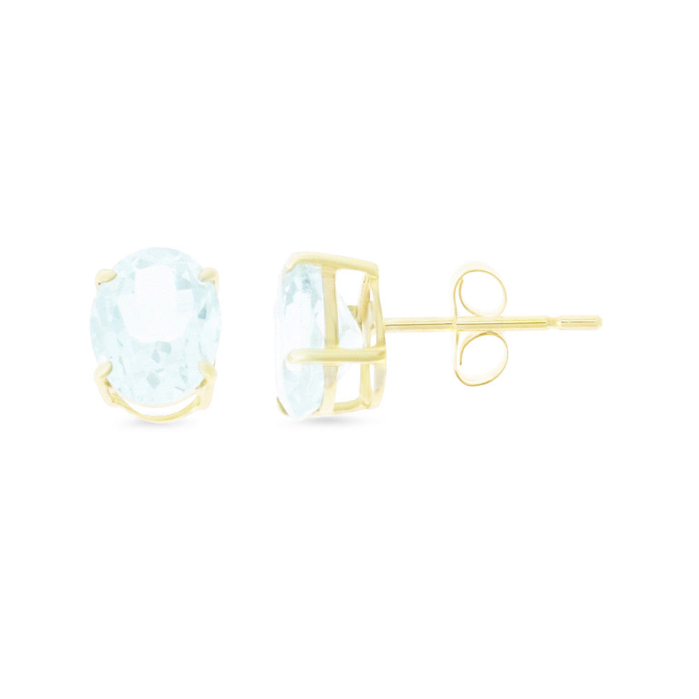 2.21ctw 6 x 8 mm. Oval Shaped Genuine Natural Aquamarine Earrings 14kt Yellow Gold