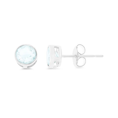 0.70ctw 5 mm. Round Bezel Genuine Natural Aquamarine Eearrings .925 Sterling Silver