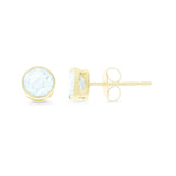 0.99ctw 5 mm. Round Bezel Genuine Natural Aquamarine Earrings 14kt Yellow Gold