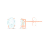 1.31ctw 5 x 7 mm. Oval Shaped Genuine Natural Aquamarine Earrings 14kt Rose Gold