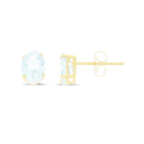 1.31ctw 5 x 7 mm. Oval Shaped Genuine Natural Aquamarine Earrings 14kt Yellow Gold