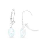 1.35ctw 5 x 7 mm. Oval Shaped Genuine Natural Aquamarine Leverback Earrings 14kt White Gold