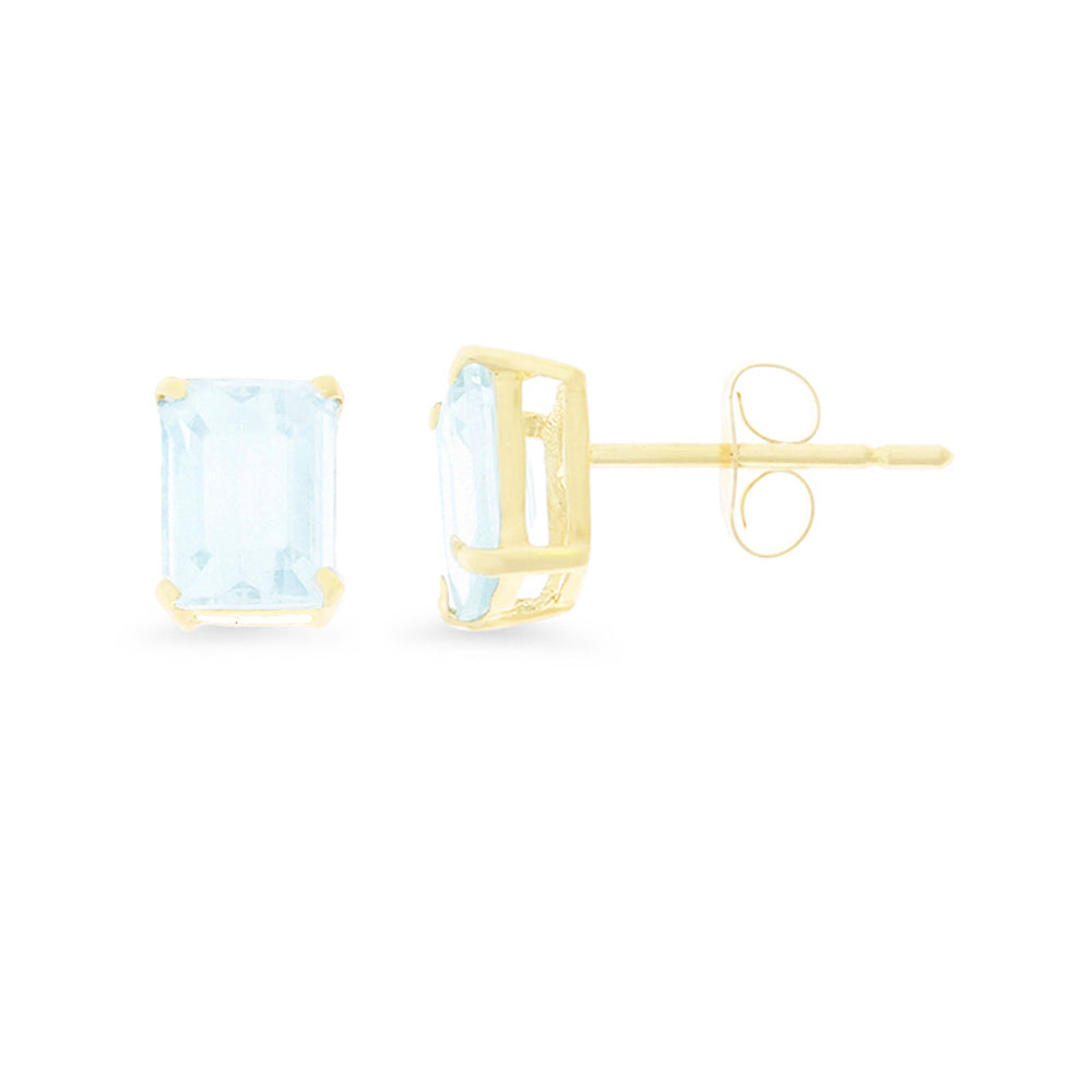 1.75ctw 5 x 7 mm. Emerald Cut Genuine Natural Aquamarine Earrings 14kt Yellow Gold