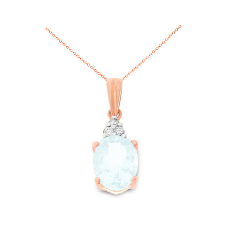 0.99ctw 6 x 8 mm. Oval Shaped Genuine Natural Aquamarine and Diamond Pendant 14kt Rose Gold