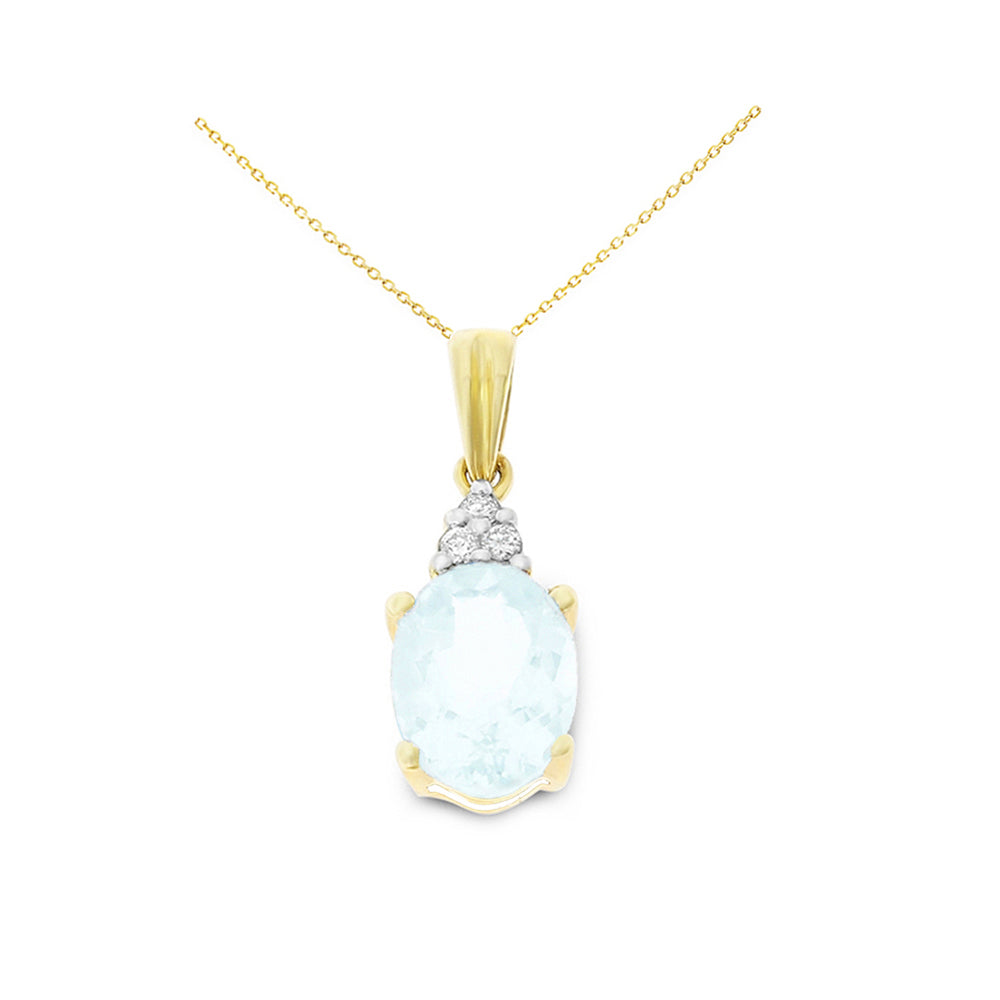 0.99ctw 6 x 8 mm. Oval Shaped Genuine Natural Aquamarine and Diamond Pendant 14kt Yellow Gold