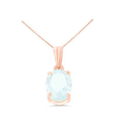 1.02ctw 6 x 8 mm. Oval Shaped Genuine Natural Aquamarine Pendant 14kt Rose Gold