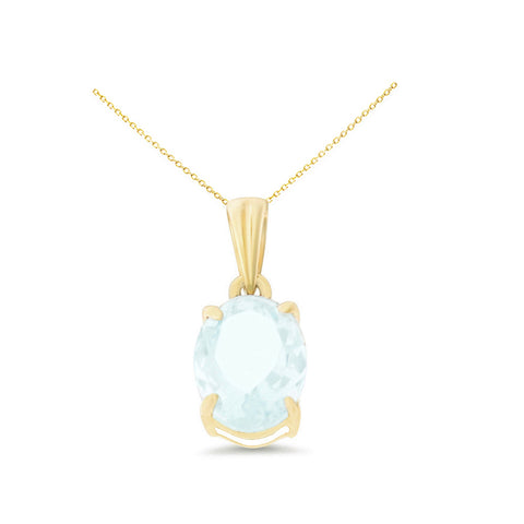 1.02ctw 6 x 8 mm. Oval Shaped Genuine Natural Aquamarine Pendant 14kt Yellow Gold