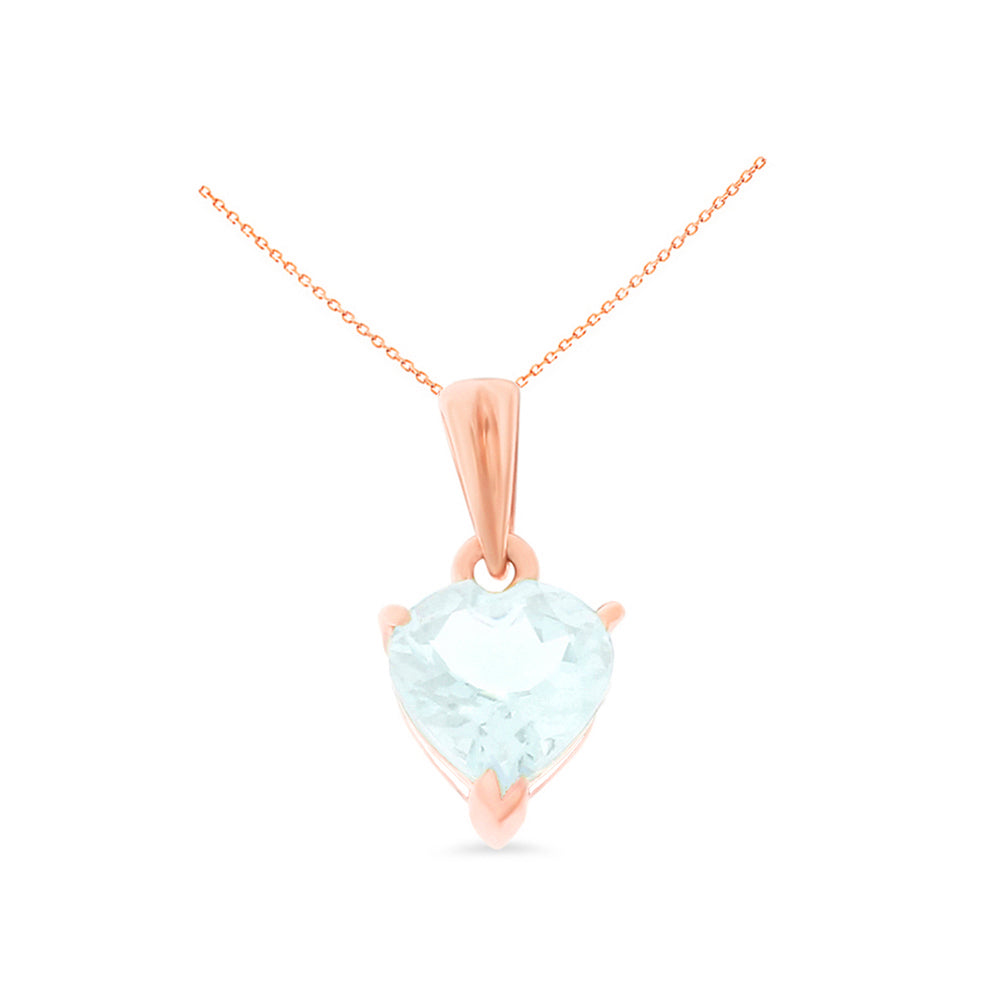 0.82ctw 6 mm. Heart Shaped Genuine Natural Aquamarine Pendant 14kt Rose Gold