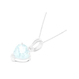0.82ctw 6 mm. Heart Shaped Genuine Natural Aquamarine Pendant 14kt White Gold