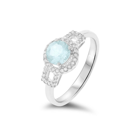 0.87ctw Genuine Natural Aquamarine and Diamond Ring Size 7.25 14kt White Gold