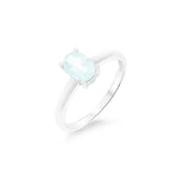 0.79ctw 5 x 7 mm. Oval Shaped Genuine Natural Aquamarine Ring .925 Sterling Silver Size 6.25