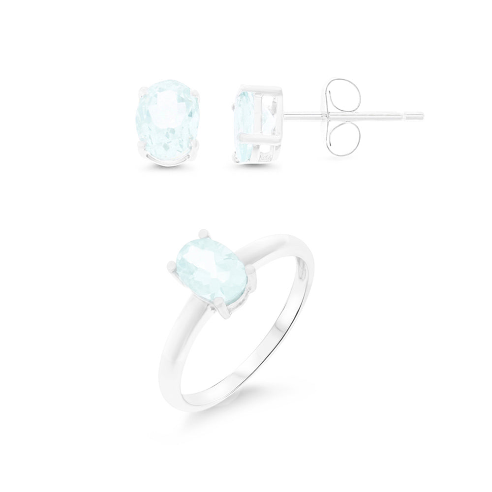 2.01ctw 5 x 7 mm. Oval Shaped Genuine Natural Aquamarine Set .925 Sterling Silver