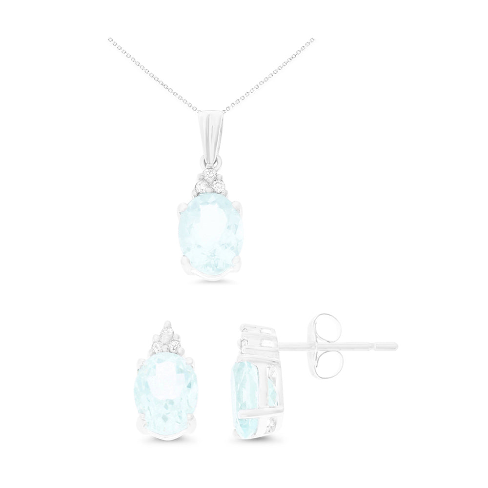 3.25ctw 6 x 8 mm. Oval Genuine Natural Aquamarine and Diamond Set 14kt White Gold